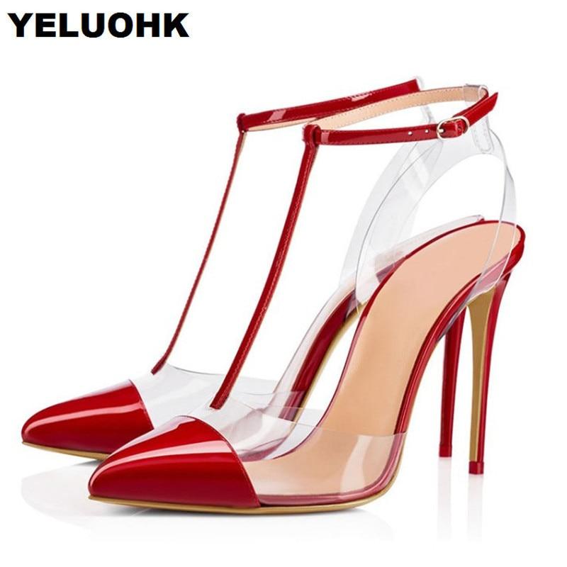 8ab07ff5cad792 gold red Apricot Sandales strap Mariage T Talons black Bout Robe Chaussures  Femmes Hauts D'été Pompes De Transparent Femme Pointu ...