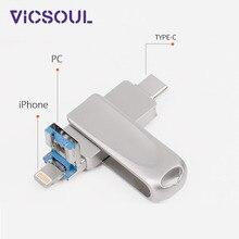 Vicsoul 3 в 1 флеш-накопитель Usb 3,0 для iPhone/Android 16 ГБ 32 ГБ 64 ГБ 128 Гб Otg Флешка type-C Usb карта памяти Металлический флеш-накопитель