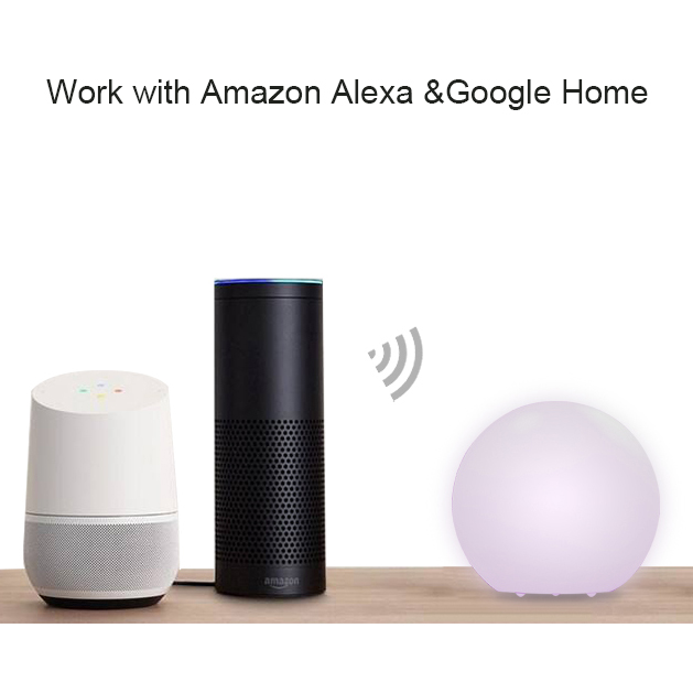 2018 Colorful Dimmable WiFi RGBCW LED Night Light Voice Control by Alexa Echo Google Home mini Control APP