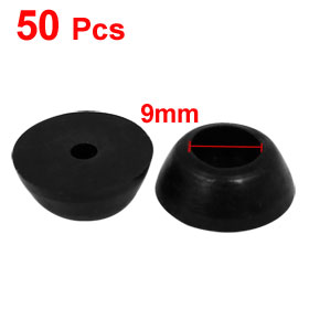 Uxcell Hot Sale 50pcs Furniture Table Chair Leg Conical Shape Foot Protector Pad Black 17mmx6mm