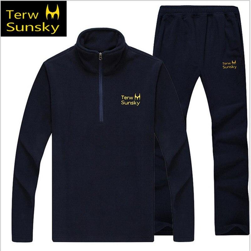 Бесплатная доставка-Лидер продаж terwsunsky Для мужчин зима/весна/осень спортивный теплый флис Куртки с Брюки для девочек комплекты 2 шт. tr022