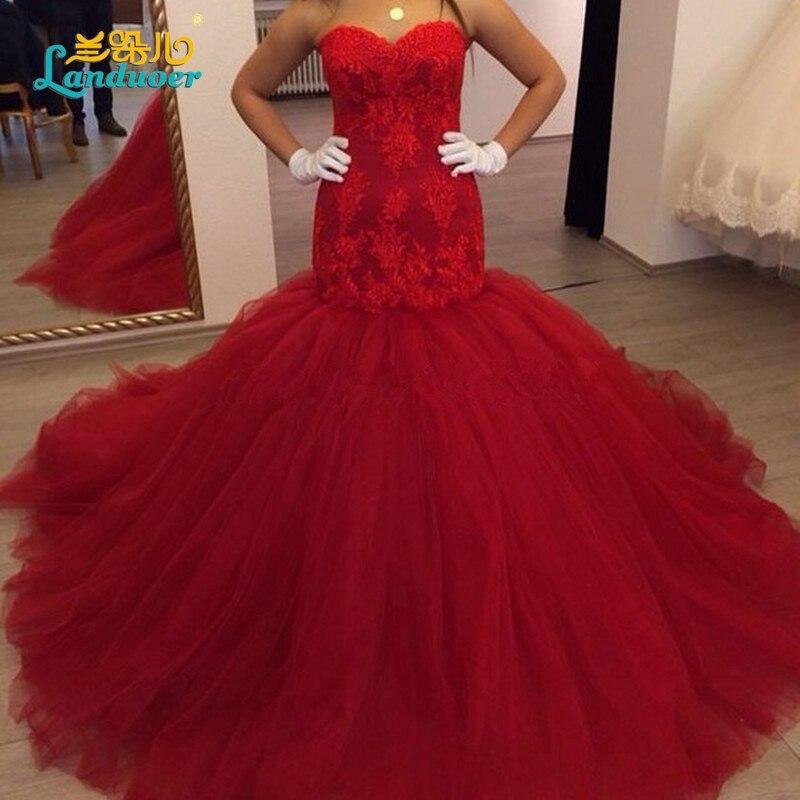 Romance Lace up Puffy Apliques Red Sirena Vestidos de Novia Sin Mangas Vestido D