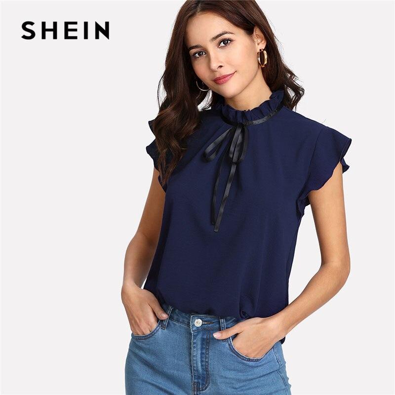 SHEIN Bogen Gebunden Frilled Ansatz-knopf Zurück Shirt Navy Stehkragen Sleeveless Frauen Chiffon Bluse Frühling Casual Arbeit Bluse