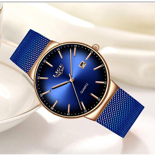 Часы наручные LIGE женские кварцевые, модные брендовые Роскошные спортивные водонепроницаемые полностью стальные
