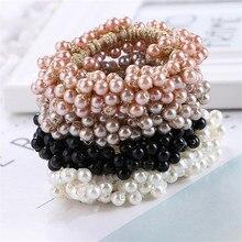 Ponytail-Holder Hair-Accessories Beads Elastic Women Pop 1pcs Pince Cheveux Pearls Presillas-De-Pelo