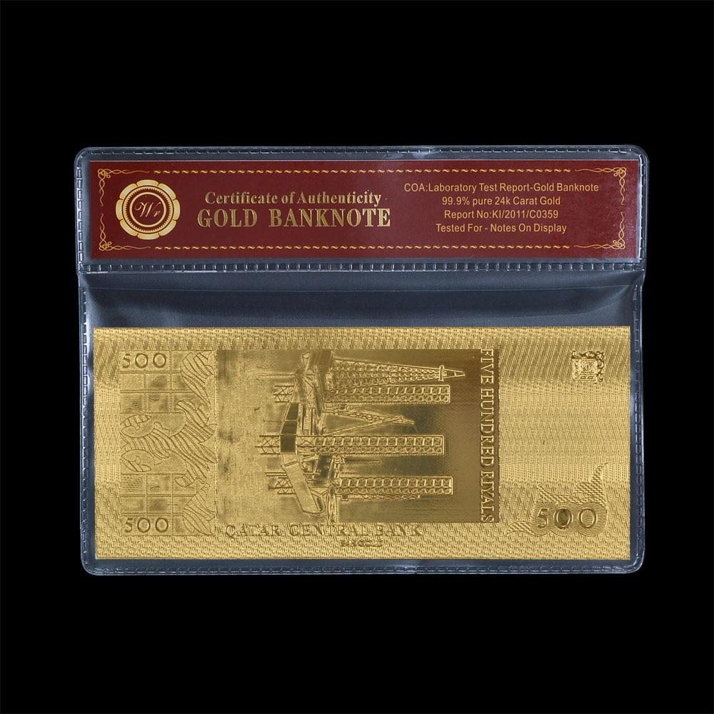Qatar 500 Riyal Gold Banknote mit Goldbeschichtung und - Wohnkultur - Foto 2