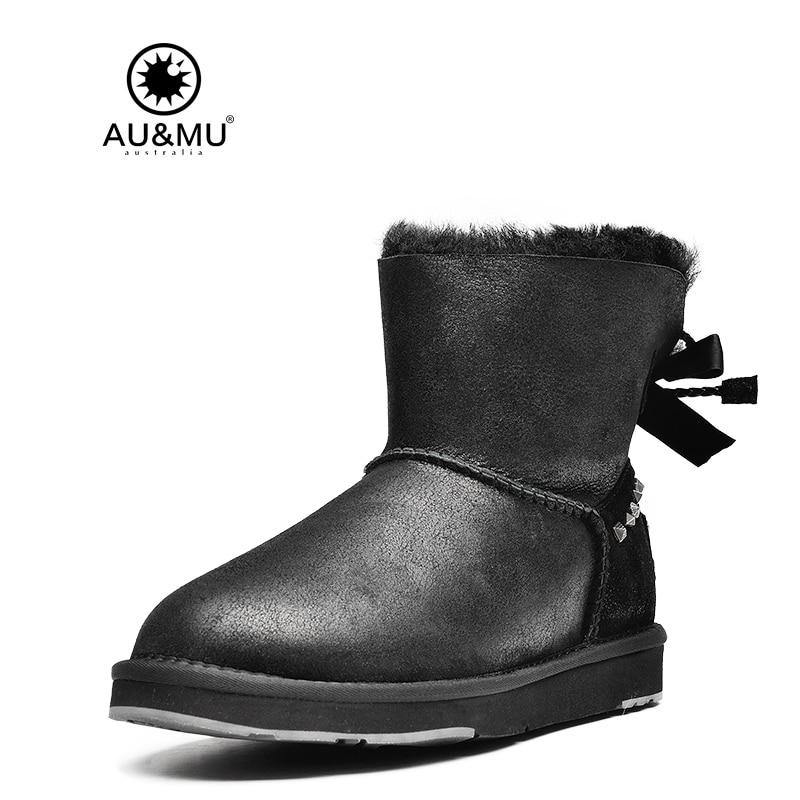 2018 AUMU/Женские Кожаные Модные непромокаемые зимние ботильоны на меху с бантом, N056
