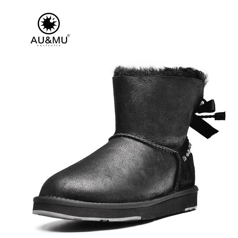 Australian Aumu 2017 New Winter Fur Snow Boots Shoes Woman Fashion Butterfly Lace-up Warm Ankle Women Shoes Waterproof N056