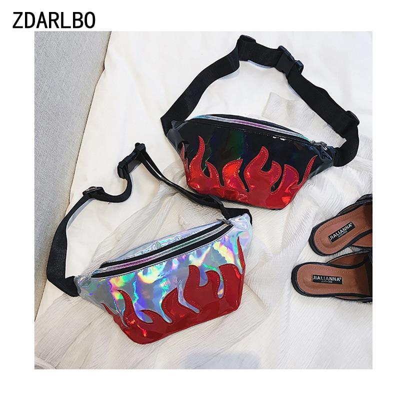 Fanny Pack Laser Flame Women's Pockets Bum Bags Fashion  Can Be Messenger Bag Belt Female Designer Multi-Function Waist Bag
