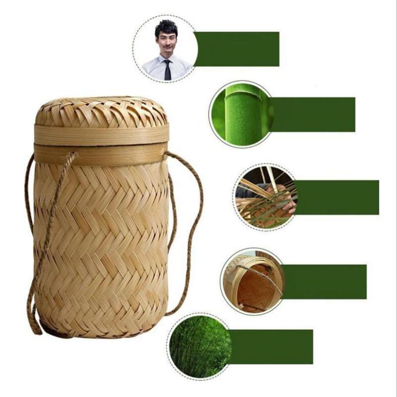 Kitchen Storage Basket Bamboo Woven Box Tea Container Case Organizer w// Lid