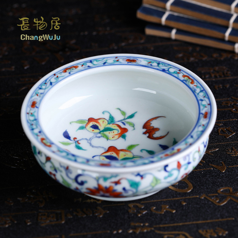 Changwuju in jingdezhen Handmade blue and white clashing color writing brush washer for furnishing, decorating and collecting