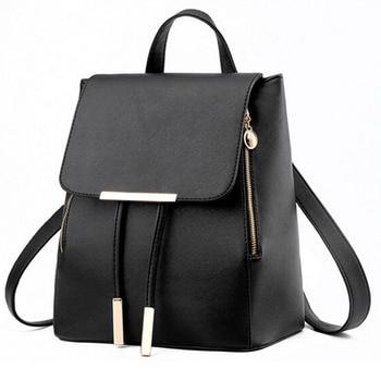 Backpack Women Pu Leather Female Backpacks Teenager School Bags 1