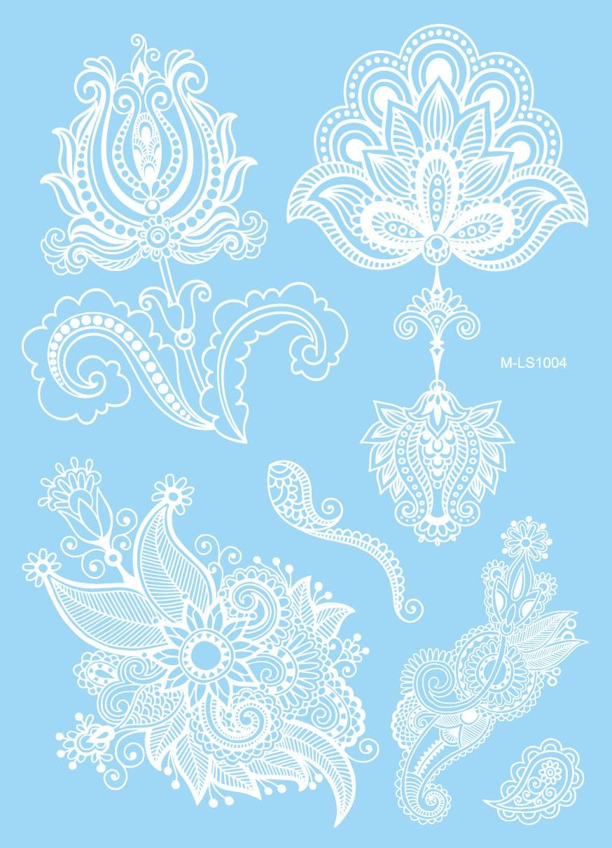 1PC Sexy Lace Leave Bracelet Design White Henna Tattoo Body Art Temporary Tattoo Sticker Women Wedding Jewel Arm Leg Tatoo PJ045