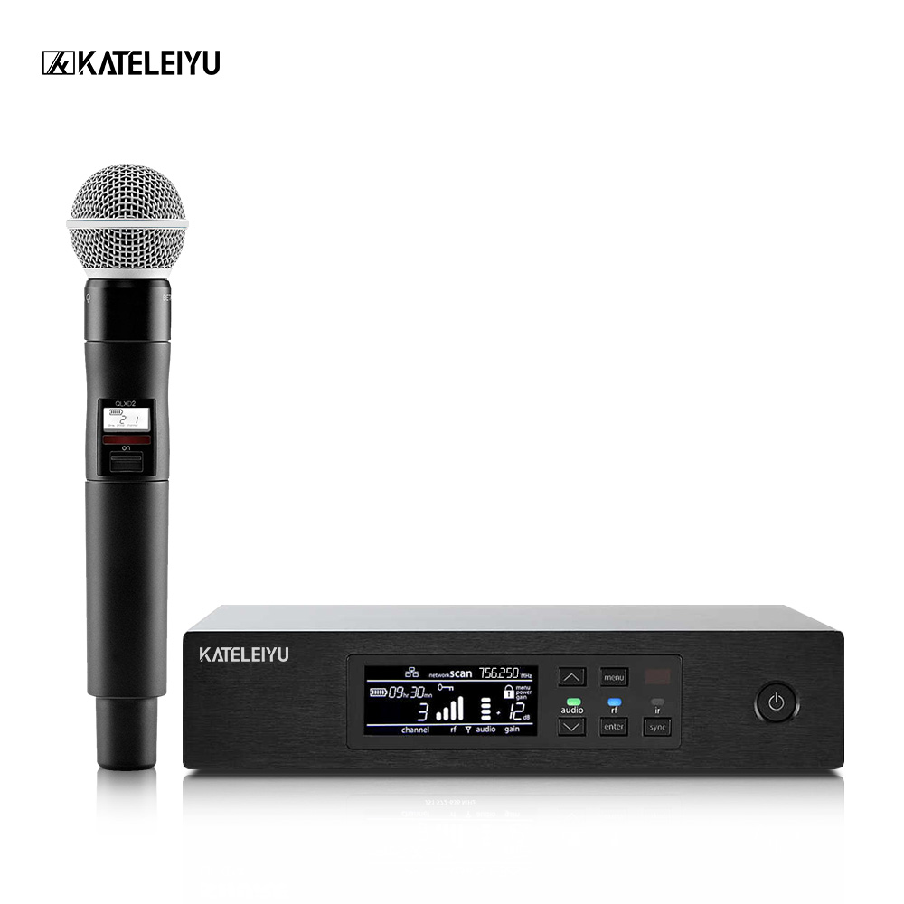 Professional wireless QLXD4 microphone karaoke microphone studio microphone UHF stage singer performance high fidelity ugx88 professional one to four wireless microphone professional stage performance meeting the sound box condenser microphone