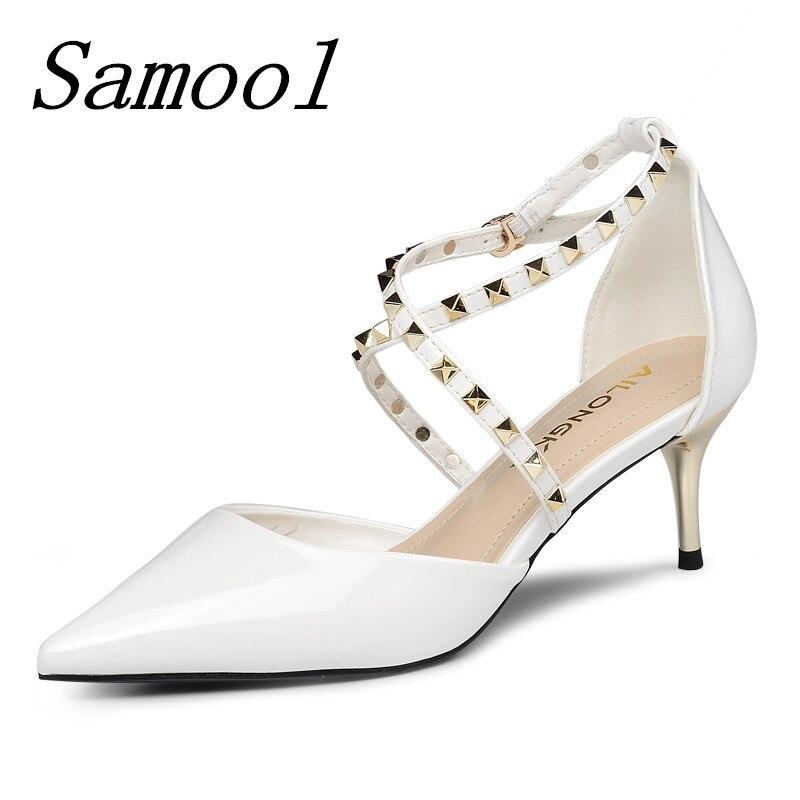 Mujer Moda Hebilla De Black Puntiagudos white Boda Sexis Alto Fiesta red  Nuevos Con Zapatos Para ... c643de75e8e6