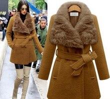 Starlist модные; женские; теплые полушерстяные широкий талией отложной меховой воротник пояса куртки пальто Зимняя верхняя одежда плюс Размеры тонкий Пальто для будущих мам