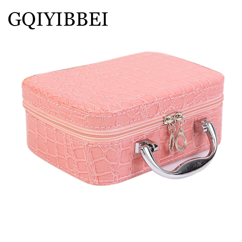 GQIYIBBEI 2018New Crocodile pattern Cosmetic box cosmetic bag womens large capacity storage handbag travel toiletry Organizers