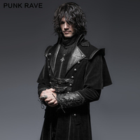 PUNK RAVE Gothic Leather Belts Crimp Shoulder Zip lined Men Long Trench Coat Black Jacket Overcoats Halloween Christmas Party