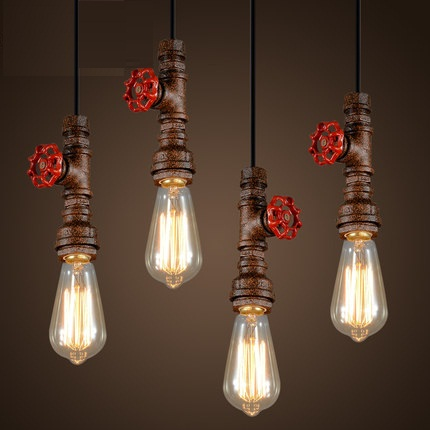 Loft Style Water Pipe Lamps Retro Edison Pendant Light Fixtures Vintage Industrial Lighting For Dining Room Bar Hanging Lamp 2 pcs loft retro light rusty color hanging lamp cafe bar pendant lights creative edison lamps industrial style pendant lighting