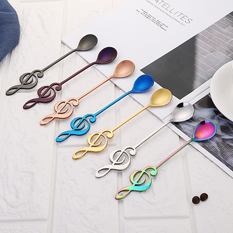 Stainless Steel Guitar Shape Coffee Mixing Spoon Dessert Tableware Home Kitchen