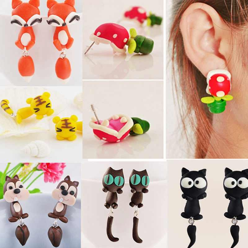 2019 New 100% Handmade Polymer Clay Animal Earrings Cute Cat Red Fox Lovely Panda Squirrel Tiger Stud Earrings For Women Jewelry