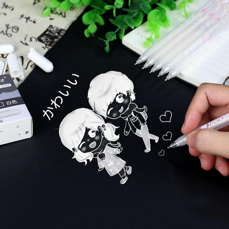 1pc 0.8mm White Ink Color Photo Album Gel Pen Cute Unisex Pen Gift For Kids Stationery Office Learning School Supplies