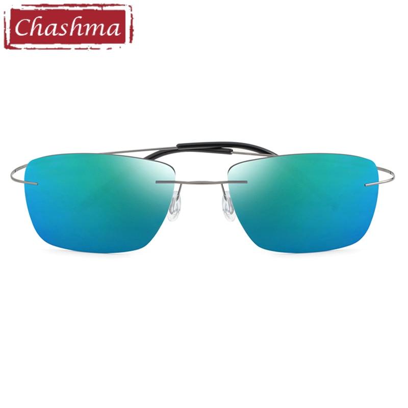 Stainless Steen Prescription Sunglasses Polarized Men Mirror Coating UV 400 Lens Anti Glare Rimless Glasses Women Myopia Glass