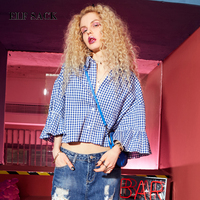 ELF SACK Women Summer Plaid Blouses Loose Crop Top Flare Sleeve Womens Shirts Female Turn Down Collar Collage Style V Neck Tops