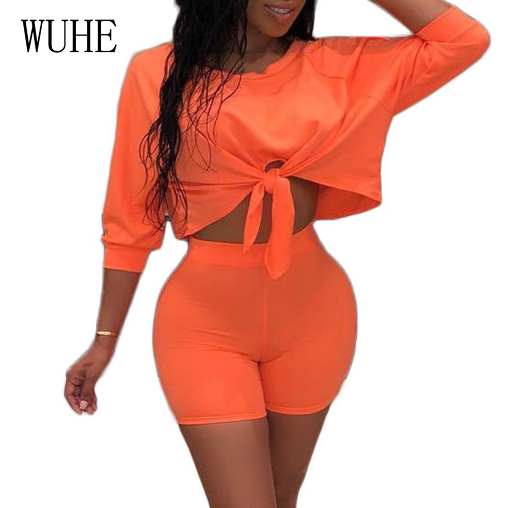 WUHE Rompers Women Casual Lace up Hollow Out Two Pieces Sets Playsuits Femme Summer Bodycon Bandage Jumpsuits Plus Size 3XL in Rompers from Women 39 s Clothing