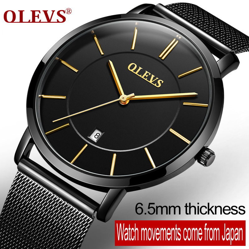 OLEVS Business Men Watch Male Clock Ultrathin Mesh Steel Strap Watches Auto Date Dress Quartz Wristwatches Student Gift G5868+9