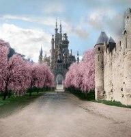 Средневековый сказочной принцессы Замок розовый цветок дерево фон винил ткань высокого качества Компьютер печати Дети фон