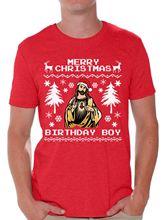 Merry Christmas Birthday Boy Shirt Mens Jesus Tshirt Free shipping Tops t-shirt Fashion Classic
