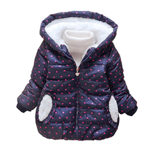 Girls Jackets Kids Thickening High Quality Warm Outerwear Children Clothing Baby girl Printed Cotton Outerwear Hooded Coat Tops