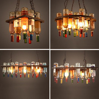 Pendant Lights Industrial Wind American Restaurant Coffee Shop Creative Personality Iron Wine Bottle Glass Lamp ZL262