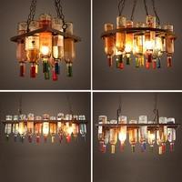 Pendant Lights Industrial Wind American Restaurant Coffee Shop Creative Personality Iron Wine Bottle Glass Lamp ZL262