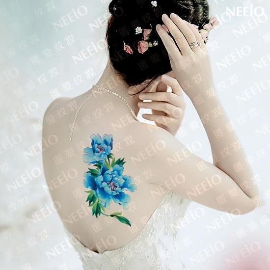 Flor Azul Tatuagem Temporária Vender Por Atacado