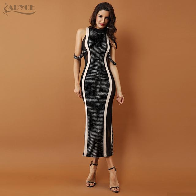 Chic Celebrity Evening Party Dresses Woman Black Sleeveless Beaded Lace  Mesh Turtleneck Sexy Back Splitting Vestidos 2baa5dbca539