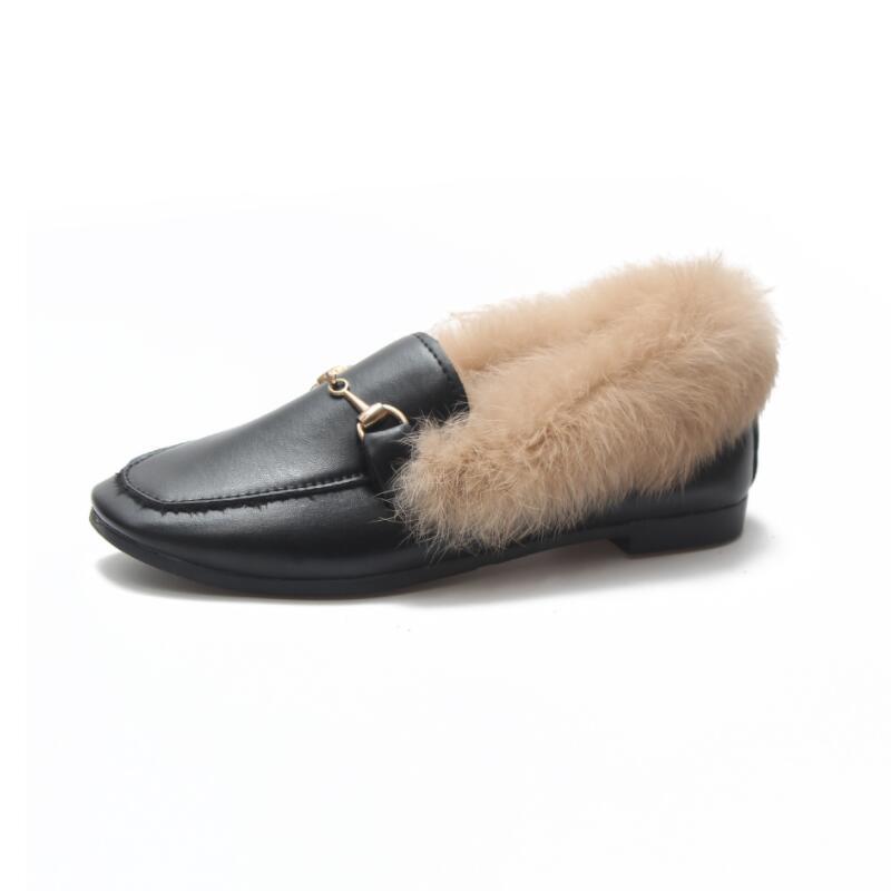 130d72588 AIKE Asia 2018 invierno nuevas damas conejo de piel plana botas de terciopelo  zapatos calientes metal