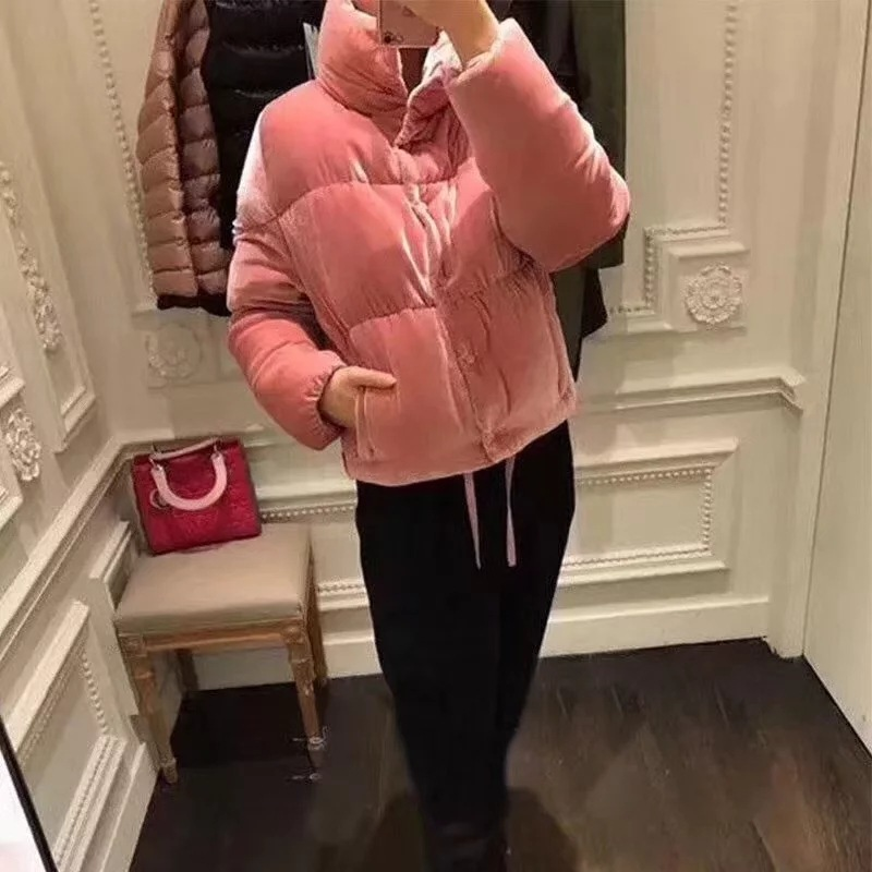 2018 retro style velvet short thick coats cotton winter padded jackets large collar fashion velour warm Parkas pink outerwear цена