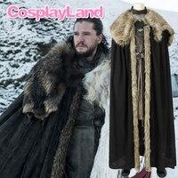 New Game of Thrones Season 8 Cosplay Jon Snow Costume Halloween Party Cloak Custom Made Jon Snow Costume Leather Outfit