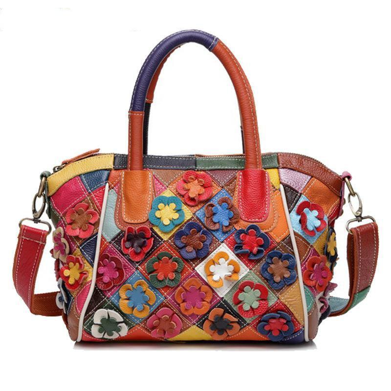 Brand Design Decals Patchwork Mosaic Color 100% Cow Genuine Leather Women Shoulder Bag Messenger Bag Popular Hot Big Small Size