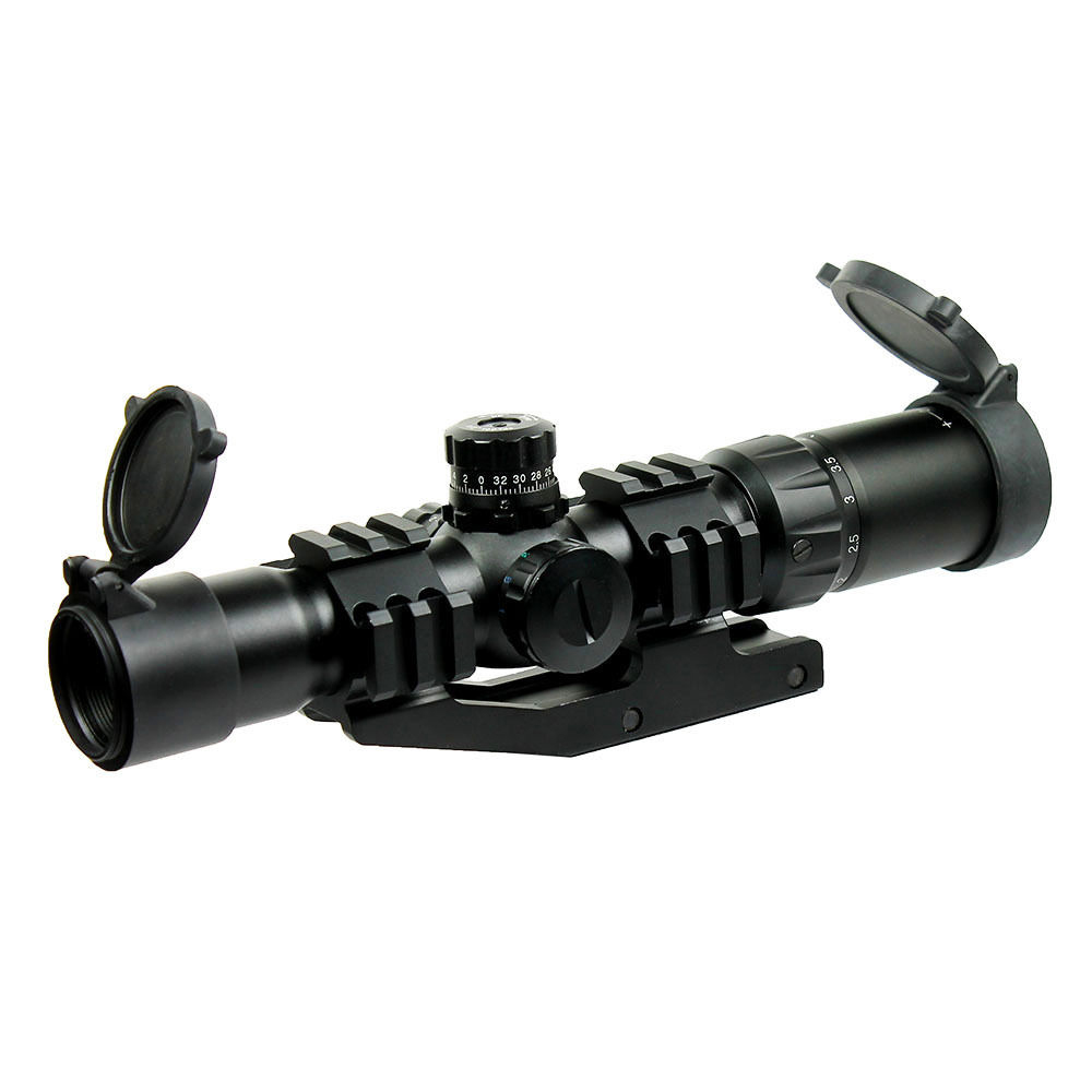 Tactical 1.5-4x30 Tri-illuminated (Red/Green/Blue) Mil-dot Reticle Rifle Scope riflescope Sight w/ RGB illuminated compact m7 4x30 rifle scope red green mil dot reticle with side attached red laser sight tactical optics scopes riflescope