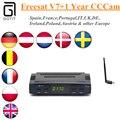 Freesat V7 + 1 Ano CCCAM Cline + USB Wi-fi receptor de Satélite receptor CCcam Espanha REINO UNIDO França ELE DE Europa 1080 p Set-top Box DVB-S2