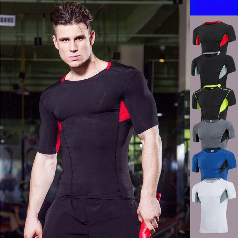 Men Sport Gmy Exercise Tight T-shirts Quick Dry Breathable Trainning Sportswear Flexible T-shirt Gmy Body-building Tight Shirts