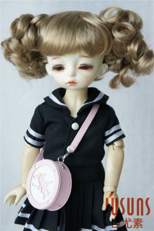 JD275  YOSD doll wigs  1/6 Lovely two curly pony BJD wig  6-7 inch doll accessories