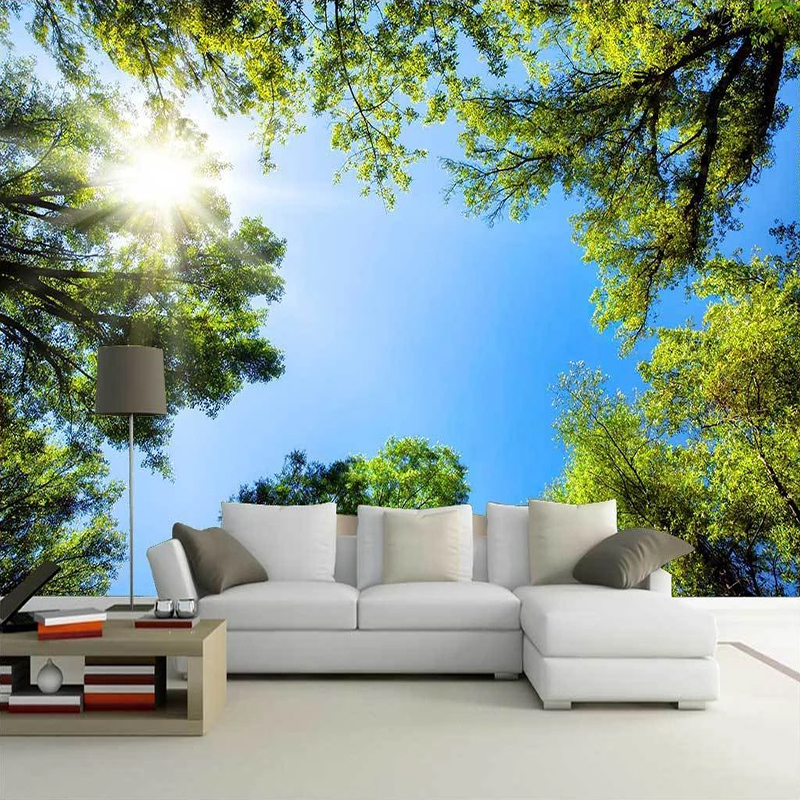 Custom 3D Photo Wallpaper Green Forest Blue Sky Sunlight Nature Landscape Kitchen Bedroom Living Room TV Background Wall Mural