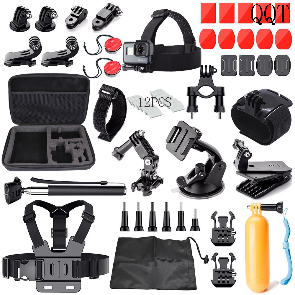 Galleria fotografica QQT for GoPro Accessories Kit for Go Pro Hero 6 5 4 3+ 3 Black version SJ4000 SJ5000 for Xiaomi Yi Sports Camera Accessories Set