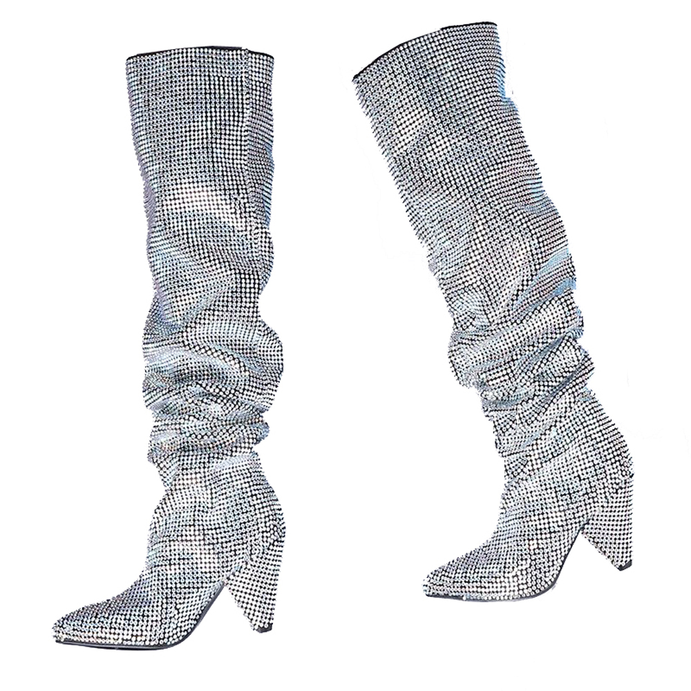 23eb99e8c0 US $99.48 50% OFF 2018 themost Hot Sale Womens Luxury Glitter Rhinestone  Embellished Slouchy Pull on Knee High Boots Cone Heel Big Size-in Knee-High  ...