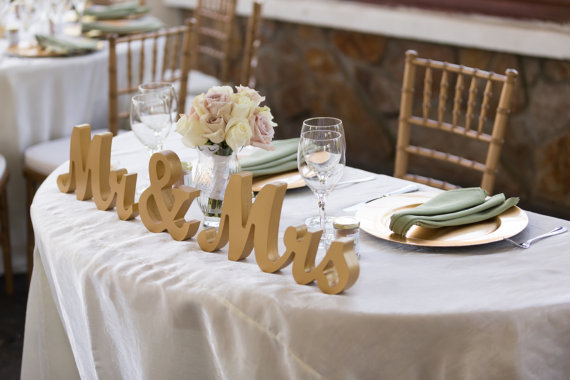 Gold Mr And Mrs Sign Wedding Sweetheart Table Decor Mr