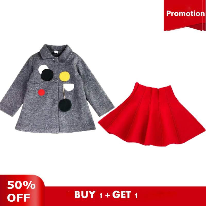 Girls Wool Coats Winter Jackets Cotton Single-Breasted Long Sleeves Coats For Teenages Girls single breasted knot blouse